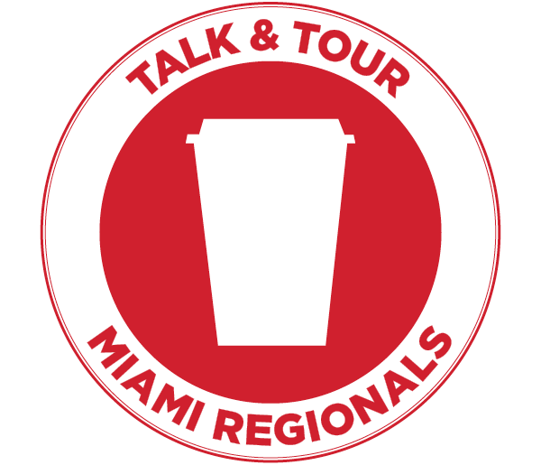 Talk and Tour badge with travel coffee mug
