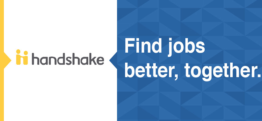 Handshake. Find jobs better together on a blue background with triangles