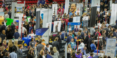 Large Career Fair, attended by many students and employers.