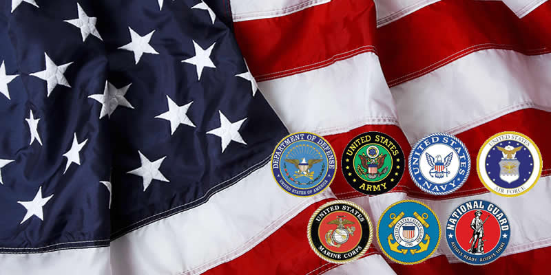 American flag background with emblems of all military services in foreground