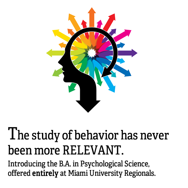 Abstract human head profile with vibrant, multicolored arrows pointing outward from center of brain cavity. Text: The study of Psychology has never been more RELEVANT. Our new BA in Psychological Science has been designed with you in mind.