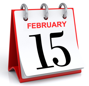 Calendar with february 15 date