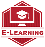 Red hexagon on a white background with computer monitor showing mortar board. Text: E-Learning