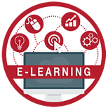 E-Learning objects: monitor, mouse, lightbulb, power button, cogs, and graph showing upward trending
