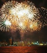Fireworks shower streams of light against a nigh sky