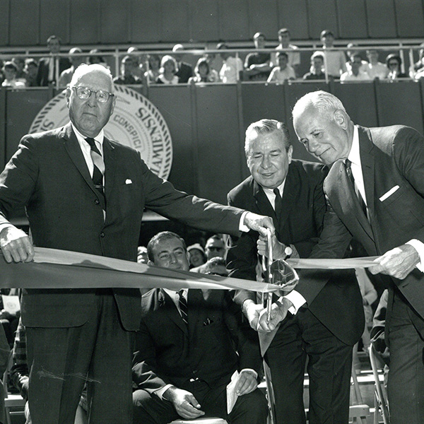 1966 Dedication of Miami Middletown. Gardner, Levey, Rhones, Johnston cutting the ribbon