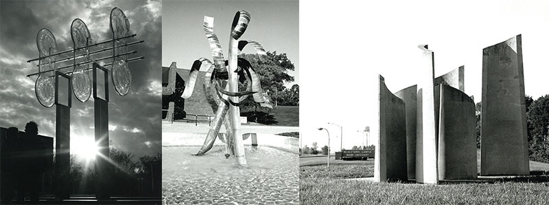 Left: Sculpture in the Quad Middle: Fountain outside of Dave Finkelman Auditorium Right: Sculptures near the entrance