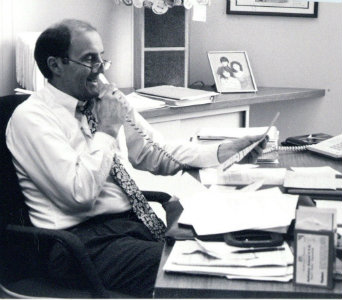Lynn Darbyshire at his desk