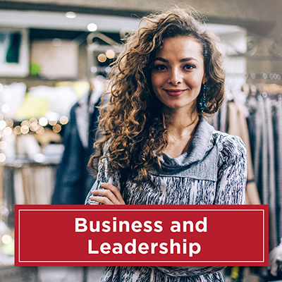 Young woman entrepreneur. Text: Business and Leadership