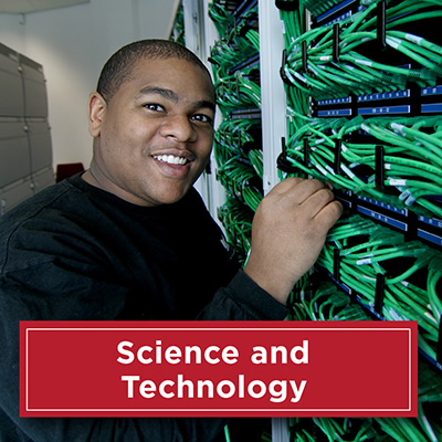Technology worker working at server. Text: Science and Technology
