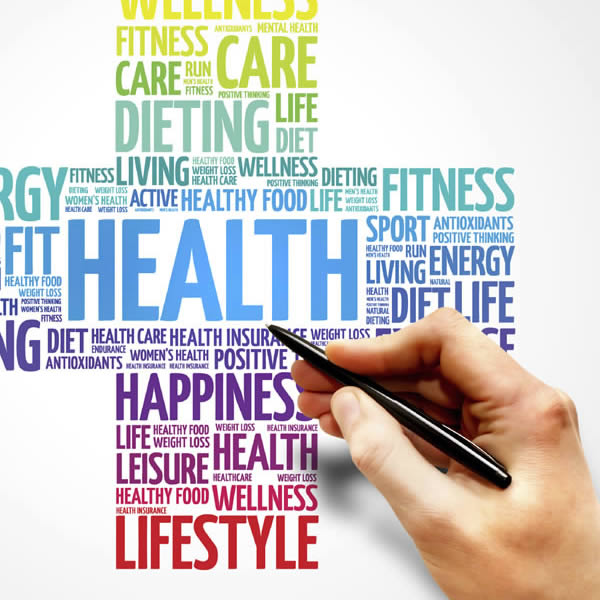 Word tag cloud of terms associated with health, including wellness, health, fit.