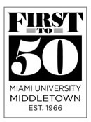 This graphic element represents Miami University Middletown being Ohio's first permanent branch campus with classes opening on September 1, 1966.