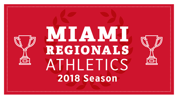 Small banner with red background. Text: Maimi Regionals athletics 2018 Season.