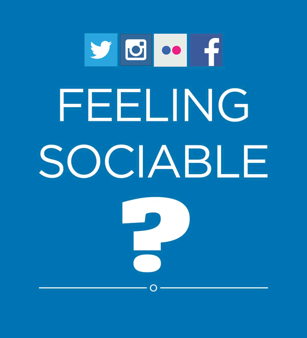Twitter, Instagram, Flickr and Facebook logos. Text: Feeling sociable?