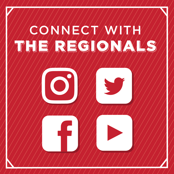 Connect with the Regionals. Icons: Instagram, Twitter,Facebook, You Tube
