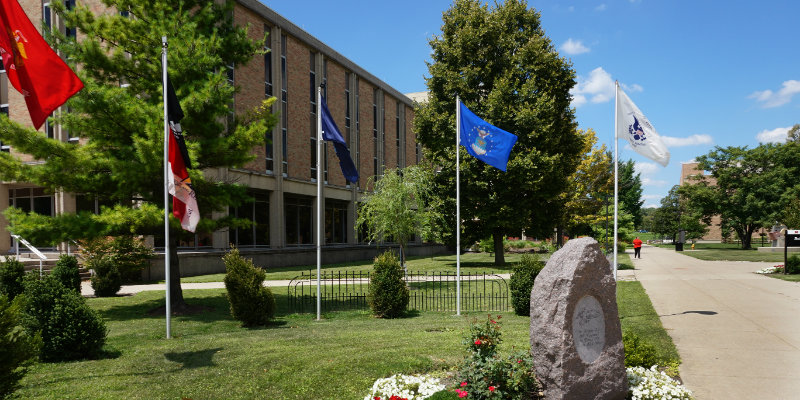 Veterans Memorial on MUH Campus--Flags and Monument