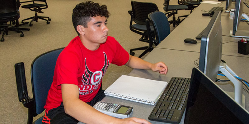 Student working on the computer at Gardner-Harvey Library
