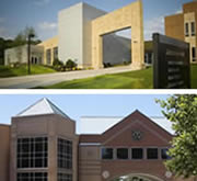 Exterior photos of landmark buildings on the Miami Middletown and Miami Hamilton campuses