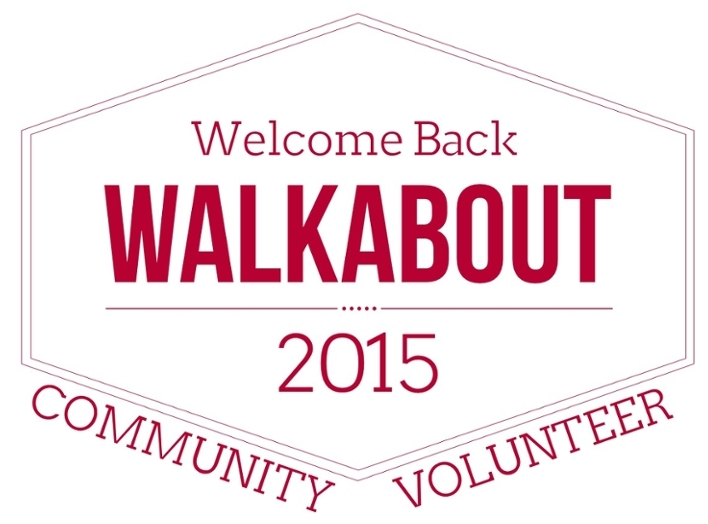 Logo for 2015 Walkabout. Text reads 2015 Welcome Back Walkabout. Community. Volunteer.