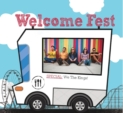 Welcome Fest Flyer. Truck in foreground with picture of students. Text reads Welcome Fest. Special We Three Kings