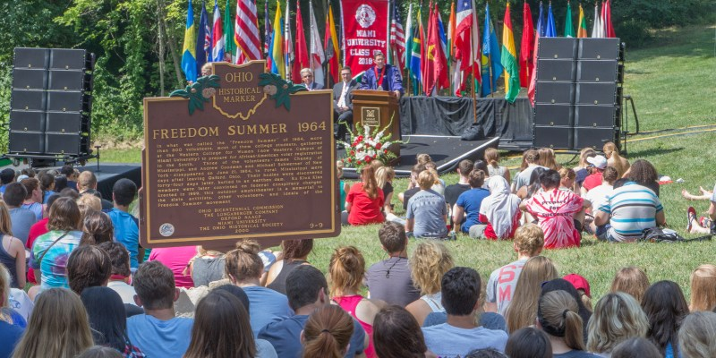 Miami University Convocation Fall 2014 on Western Campus, site of Freedom Summer trainings in 1964