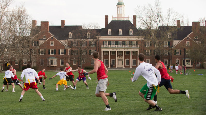 greek life men playing flag football