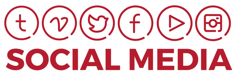 Logos for several major social media platforms and the words Social Media