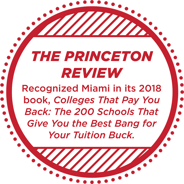 The Princeton Review recognized Miami as a top 200 school 'college that pays you back' in 2018
