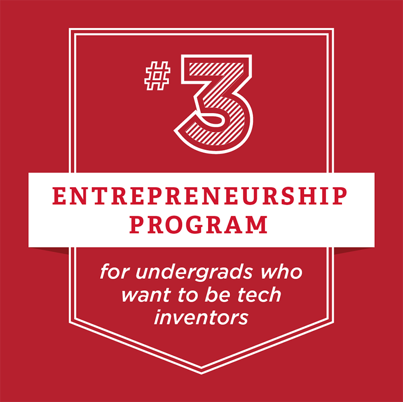 Number 3 Entrepreneurship Program for undergrads who want to be tech inventors