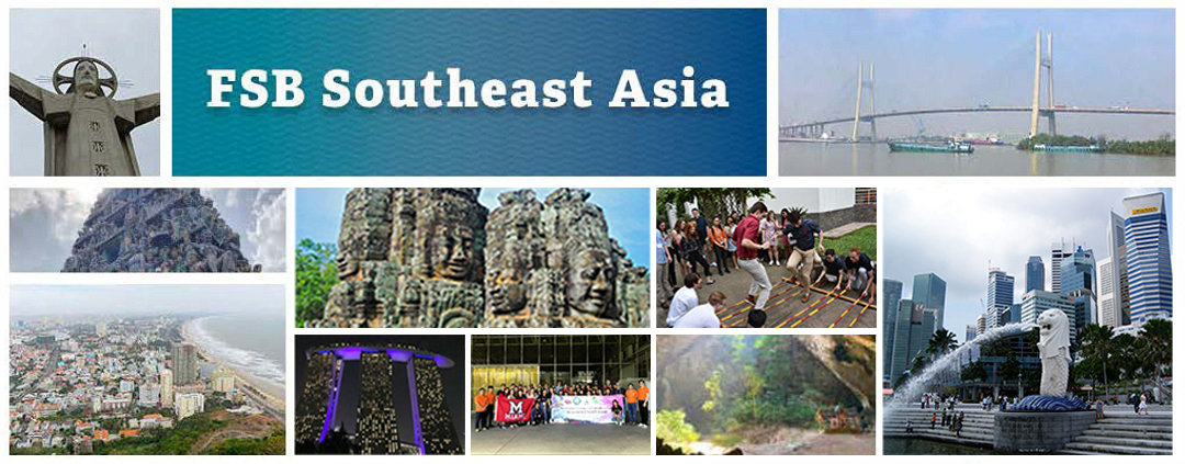 FSB Southeast Asia - a photo collage of Southeast Asian landmarks and groups of students